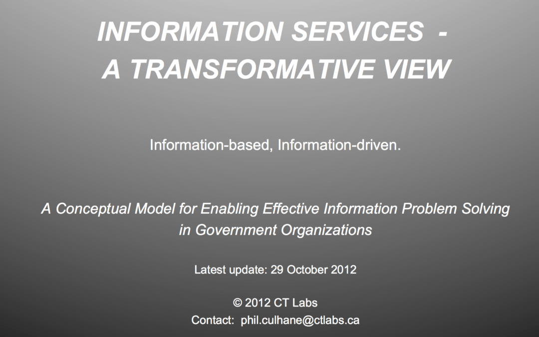 Information Services – a Conceptual Information Service Delivery Model